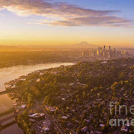 Over Seattle Dawn Golden Light by Mike Reid