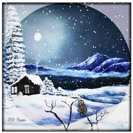 Owl Watch on a Cold Winter's Night with Snow Globe Effect II by Kimberlee Baxter