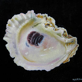 Oyster Shell On Black by Phyllis Beiser
