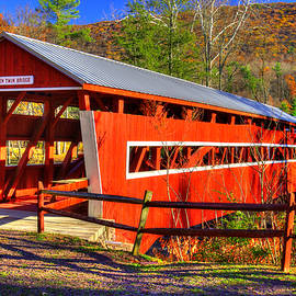PA Covered Bridges - West - East Paden Twin Covered Bridges Over Huntington Creek #1A - Columbia Cty by Michael Mazaika
