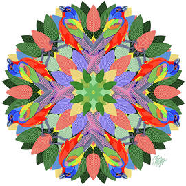 Painted Bunting #1 Nature Mandala by Tim Phelps