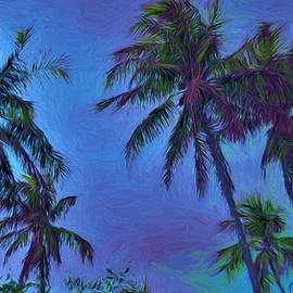 Painted Red Palms At Sunset by Joan Stratton