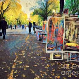 Paintings in the Park - Literary Walk Central Park New York by Miriam Danar
