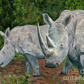 Pair Of Rhinos Painting by Timothy Hacker