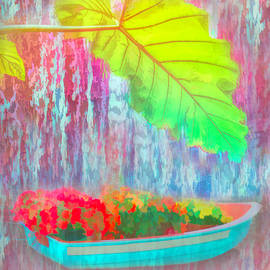 Palm Tree With Boat Of Flowers  by Aimee L Maher ALM GALLERY