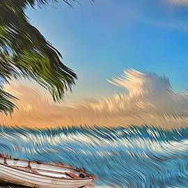 Palm Trees and a Boat by David Manlove