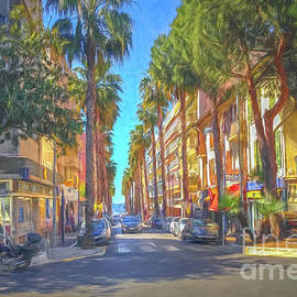 Palm Trees On Street In Antibes, France, Painterly by Liesl Walsh