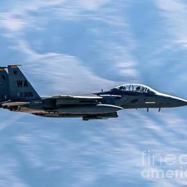 Panning A F-15e Strike Eagle Going Low by Joe A Kunzler