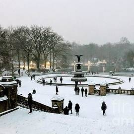 Panorama in the Park - Central Park in Winter - Angel of the Waters by Miriam Danar