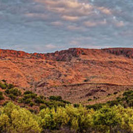 Panorama of Davis Mountains Volcanic Cliffs reflecting morning Alpenglow - Fort Davis Far West Texas by Silvio Ligutti