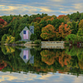 Panoramic Old Stone Church in the Fall by Tejus Shah