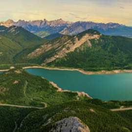 Panoramic View of Barrier Lake and The Canadian Rockies, Alberta, Canada by Yves Gagnon