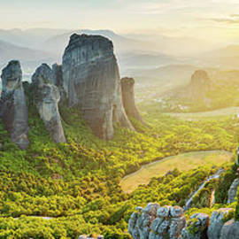 Panoramic view of Meteora, Greece by Justin Foulkes