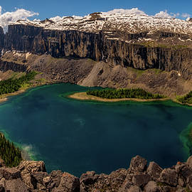 Panoramic View of Rockbound Lake and Castle Mountain, Banff National Park, Alberta, Canada by Yves Gagnon