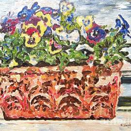 Pansies on a BalconyIt's an original oil painting inspired by the beauty of the pansies in a beautif by Helen Sviderskis