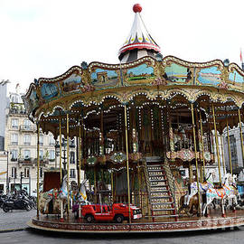 Paris Carousel Hotel DeVille Carousel Merry go Round Carousel Horses Red Car  by Kathy Fornal