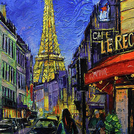 Paris cityscape Eiffel Tower by night by Mona Edulesco
