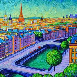 PARIS DAWN VIEW FROM NOTRE DAME TOWERS commissioned painting abstract cityscape Ana Maria Edulescu by Ana Maria Edulescu