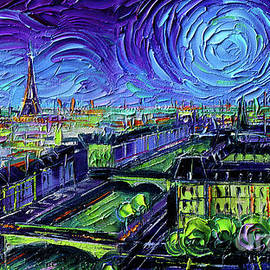 PARIS PANORAMIC VIEW AT NIGHT palette knife oil painting Mona Edulesco by Mona Edulesco