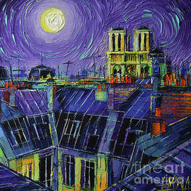 PARIS ROOFS AND NOTRE DAME VIEW palette knife oil painting Mona Edulesco by Mona Edulesco
