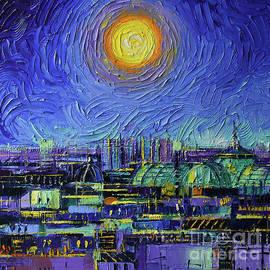 Paris Rooftops At Night - Detail 4 - Palette knife painting Mona Edulesco by Mona Edulesco