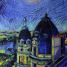 PARIS ROOFTOPS IN MOONLIGHT - DETAIL 1 palette knife oil painting Mona Edulesco by Mona Edulesco