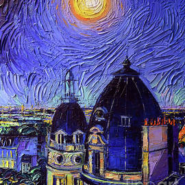 PARIS ROOFTOPS IN MOONLIGHT - DETAIL 2 palette knife oil painting Mona Edulesco by Mona Edulesco
