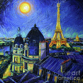 PARIS ROOFTOPS IN MOONLIGHT palette knife oil painting Mona Edulesco by Mona Edulesco