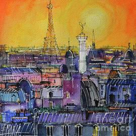 PARIS ROOFTOPS IN SUNLIGHT watercolor painting Mona Edulesco by Mona Edulesco