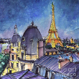 PARIS ROOFTOPS IN THE EVENING watercolor painting Mona Edulesco by Mona Edulesco