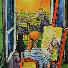 PARIS SUNSET THROUGH THE WINDOW commissioned watercolor painting Mona Edulesco by Mona Edulesco