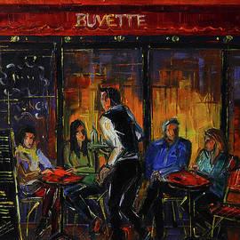 PARIS TERRACE AT NIGHT TIME oil painting Mona Edulesco by Mona Edulesco