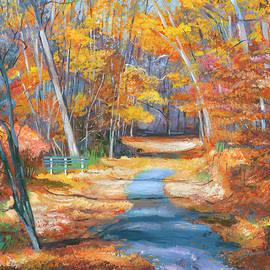 Park Bench In Fall by David Lloyd Glover