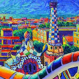 PARK GUELL NIGHT GAUDI TOWER Barcelona impasto palette knife oil painting Ana Maria Edulescu by Ana Maria Edulescu