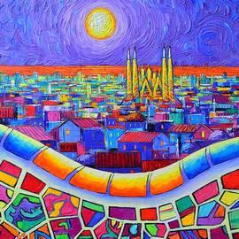 PARK GUELL NIGHT SAGRADA FAMILIA BARCELONA abstract city impasto knife painting Ana Maria Edulescu by Ana Maria Edulescu