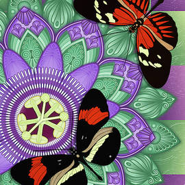 Passion Flower Mandala with Butterflies by Debi Dalio