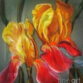 Bi-color Yellow and Purple German Bearded Iris in Pastel Pencils and Chalk by Catherine Ludwig Donleycott