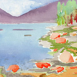Pastel Colors Lake and Mountain Watercolor