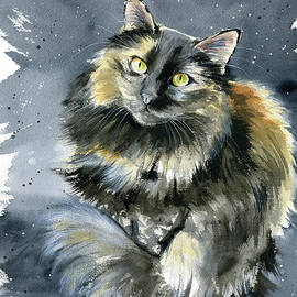 Patches Tortoiseshell Cat Painting by Dora Hathazi Mendes
