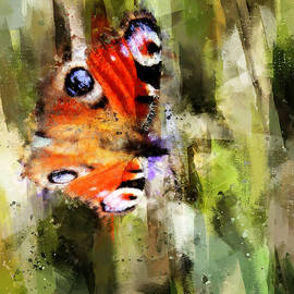 Peacock Butterfly On Abstracted Background by Western Exposure