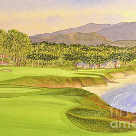 Pebble Beach Golf Course Holes 9 and 10 by Bill Holkham
