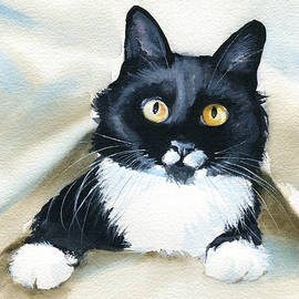 Peekaboo Tuxedo Cat Painting by Dora Hathazi Mendes