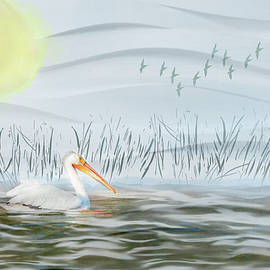 Pelican on the River Watercolor by Patti Deters