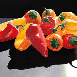 Painting of Colorful Peppers - Red, Orange and Yellow Art for Kitchen  by Ann Cloutier