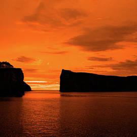 Perce' Rock Red Sunrise by Lorraine Palumbo