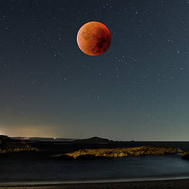 Pessegueiro Island and Blood Moon by Angelo DeVal