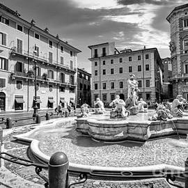 Piazza Navona in Rome - Fontana del Moro BW by Stefano Senise