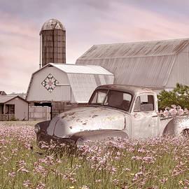 Pickup Truck in the Farmhouse Wildflowers by Debra and Dave Vanderlaan