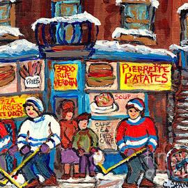 Pierrette Patate Famous Landmarks Verdun Montreal Hockey Art C Spandau Canadian Winter Scene Artist  by Carole Spandau
