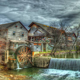 Pigeon Forge TN Old Mill Restaurant 2 General Store Grist Mill  Fall Architectur by Reid Callaway